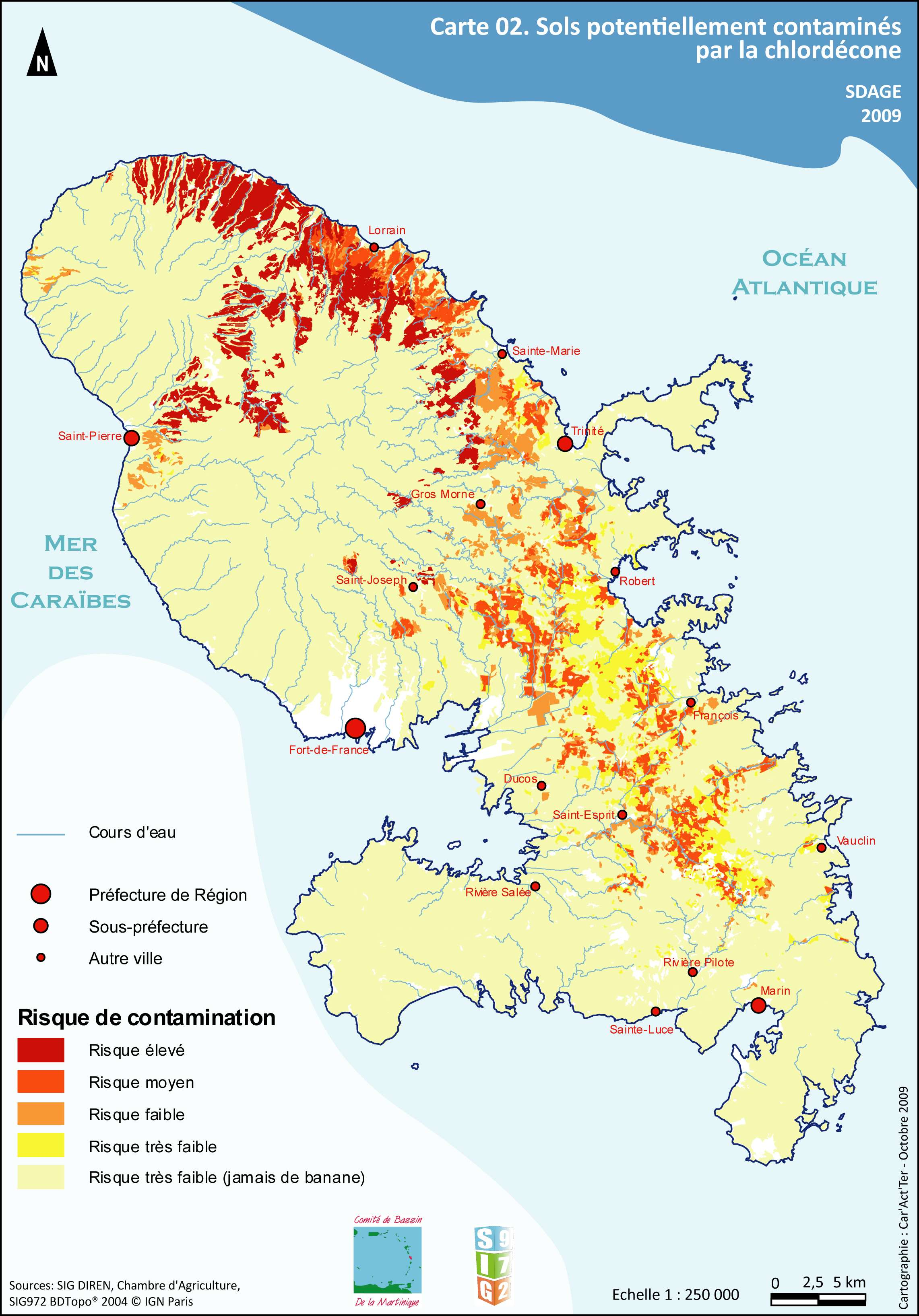 Communes polluées au Chlordécone Martinique