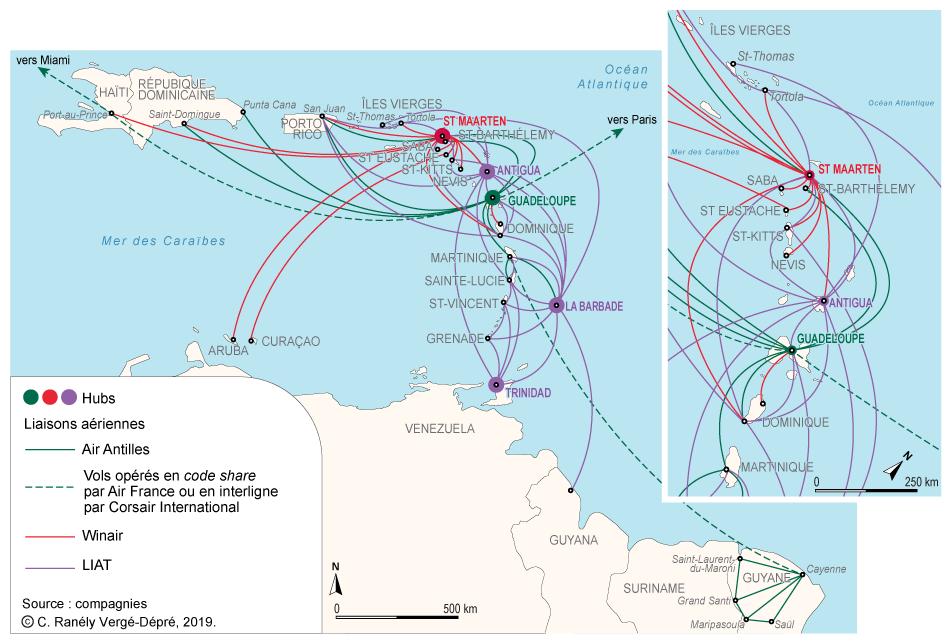 Colette Ranély Vergé-Dépré — réseau des compagnies aériennes Antilles et Caraïbe carte