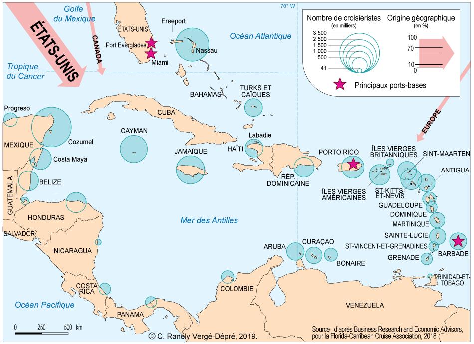 Colette Ranély Vergé-Dépré — répartition des croisiéristes dans la Caraïbe carte
