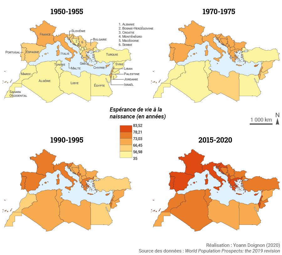 Yoann Doignon — carte espérance de vie à la naissance bassin méditerranéen