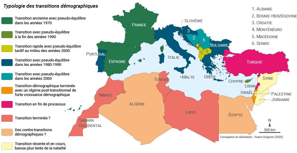 Yoann Doignon — carte typologie des transitions démographiques bassin méditerranéen