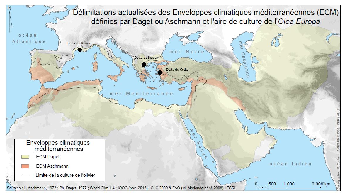 Délimitation des enveloppes climatiques climat méditerranéen CARTE