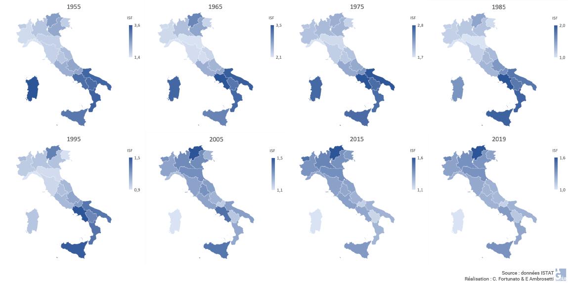 Fortunato e Ambrosetti ISTAT — évolution de l'indice synthétique de fécondité 1955-2019 cartes