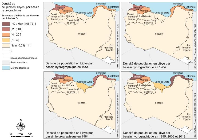 François Moriconi Ebrard et Rémi Pascal — Carte densité de population par bassin hydrographique Libye évolution 1954 2012