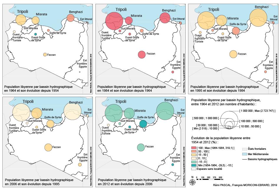 François Moriconi Ebrard et Rémi Pascal — Carte population par bassin hydrographique Libye évolution 1954 2012