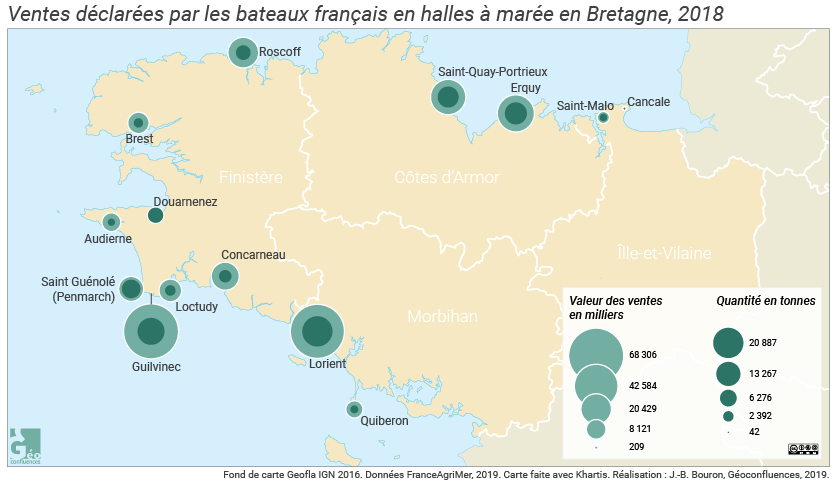 Ventes déclarées par les bateaux français en halles à marée en Bretagne, 2018, carte