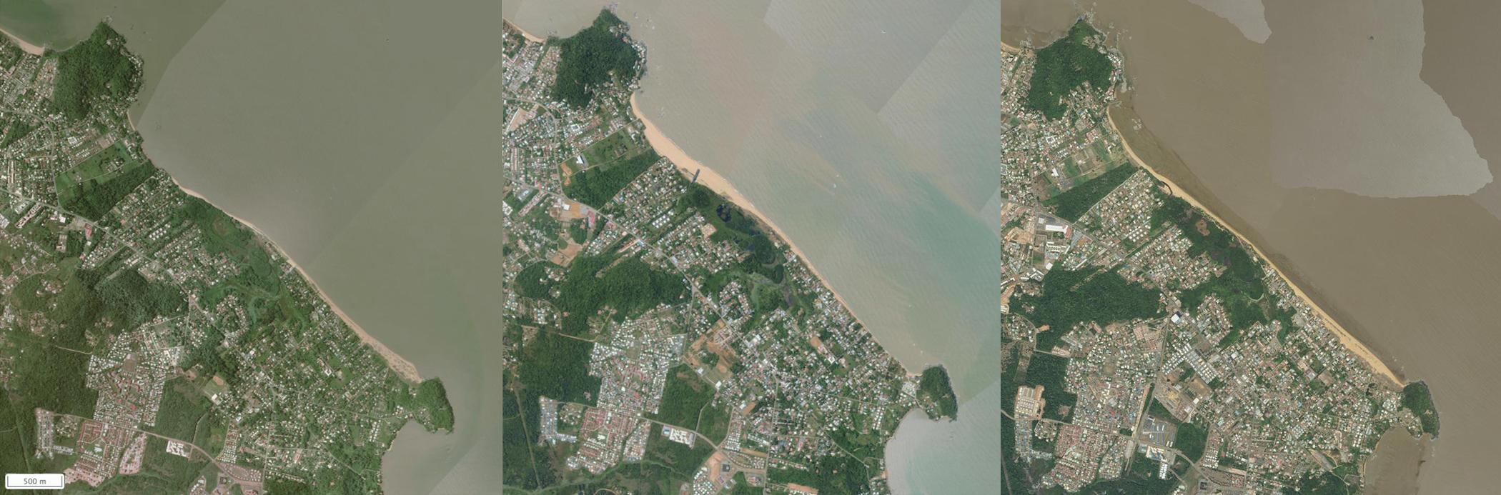 rotation du sable sur une plage en guyane vue aérienne