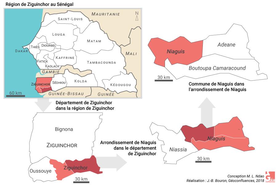 Carte localisation Niaguis et Ziguinchor au Sénégal