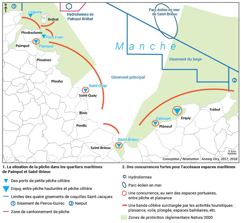 Annaig Oiry — Carte Figure 10. Vers une restriction croissante des espaces de pêche en baie de Saint-Brieuc?