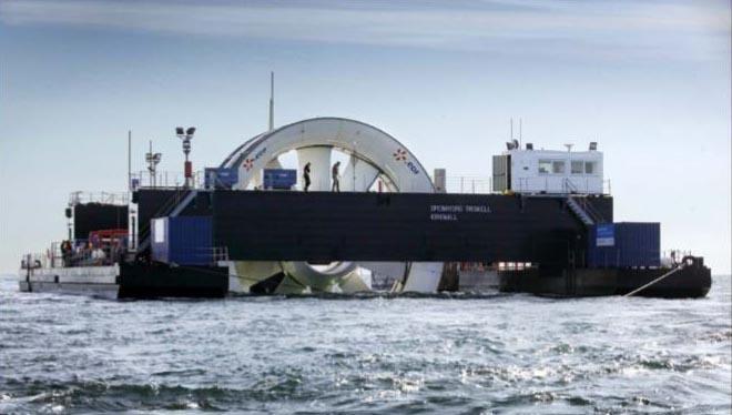 L'hydrolienne test d'EDF, immergée au large de l'île de Bréhat  Source: EDF, 2013