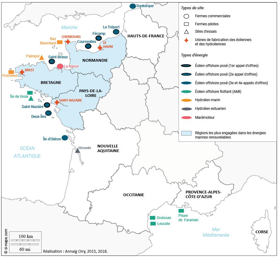 Annaig Oiry — Carte État des lieux des projets d'énergies marines renouvelables sur les littoraux français en 2017