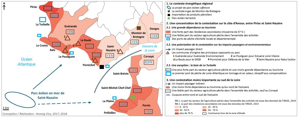 Annaig Oiry — Carte réception sociale du parc éolien en mer de Saint-Nazaire variable en fonction des structures locales d'activités