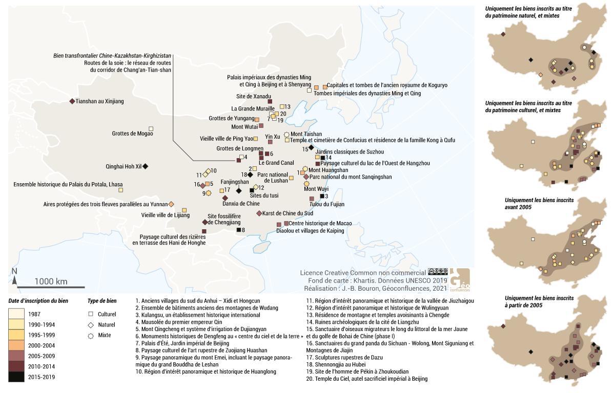 sites UNESCO en Chine carte