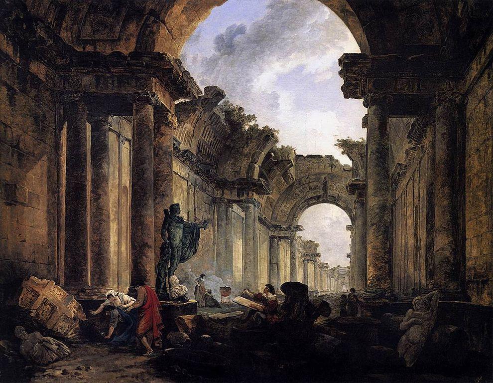 Hubert Robert vue imaginaire de la grande galerie du louvre en ruine