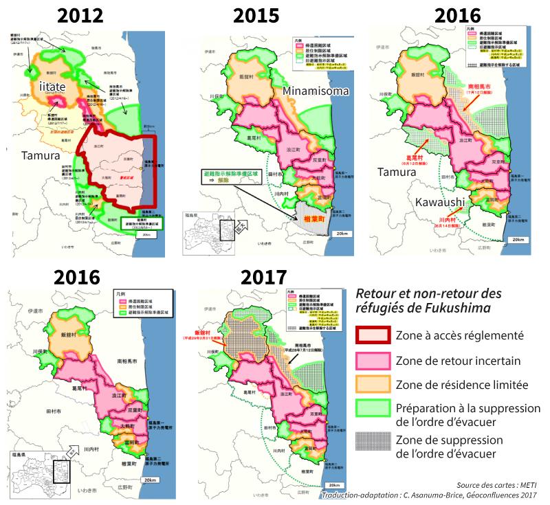 Cécile Asanuma-Brice — carte zones interdites et zones de retour