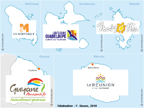 Carte de France marques outre-mer