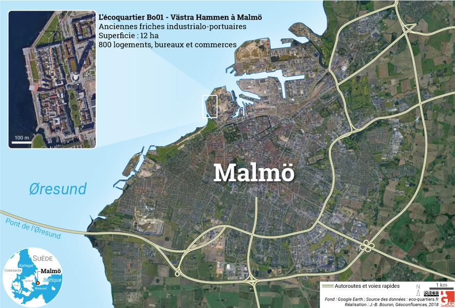 BO01 Västra Hamnen carte malmo autoroutes photographie aérienne