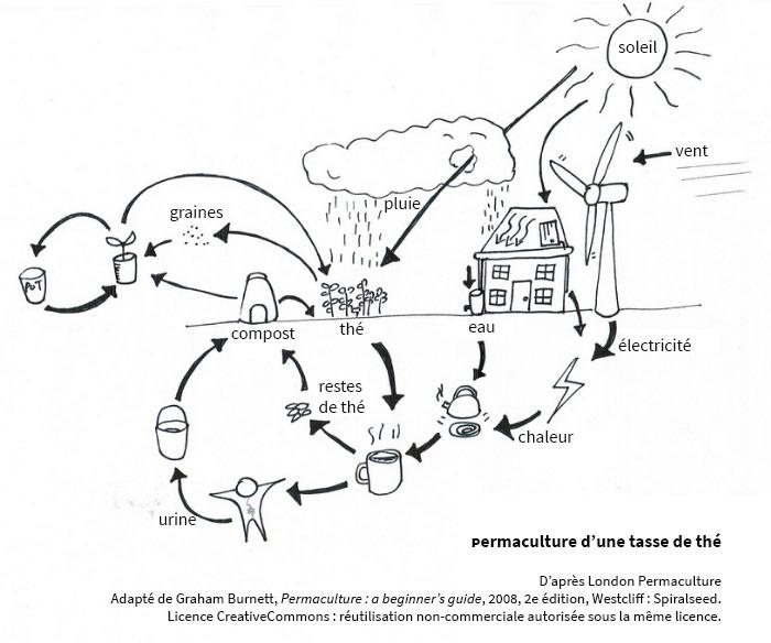 permaculture schéma explicatif dessiné, traduit en français