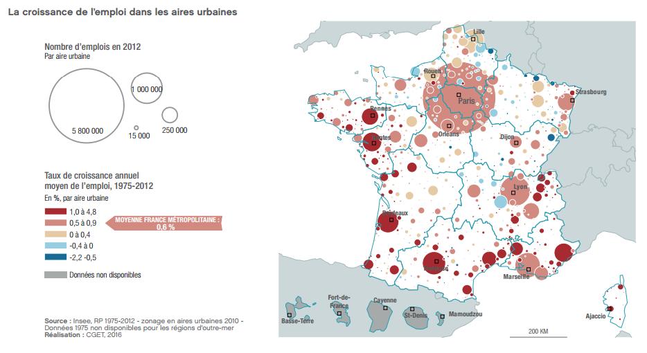 croissance emploi par aire urbaine carte 1975-2012