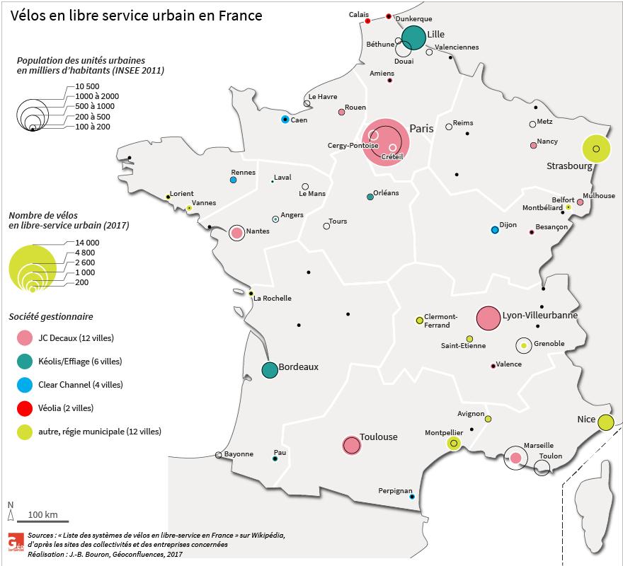 carte des vélos en libre service en France par nombre et type de société