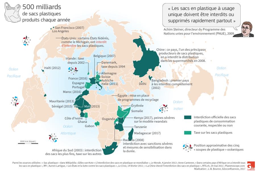 planisphère carte pays interdisant les sacs plastiques dans le monde
