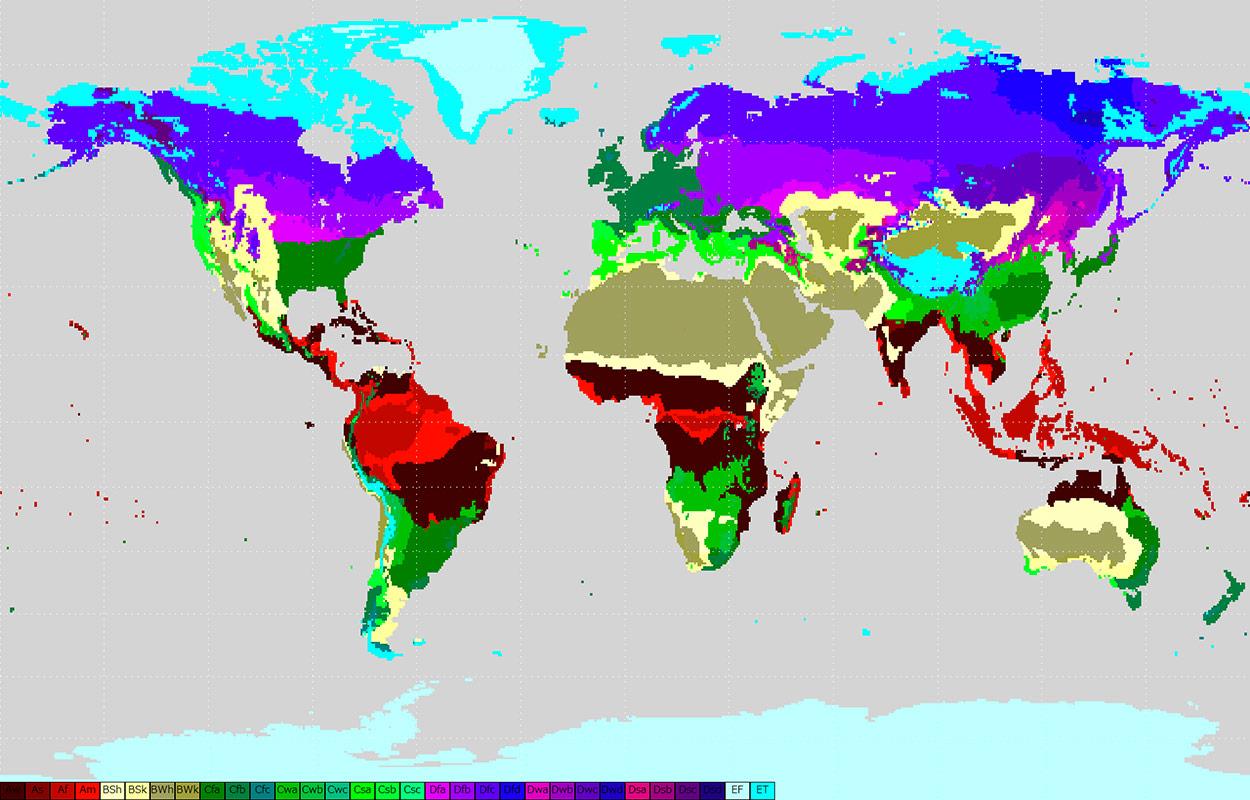 classification de Koppen planisphère