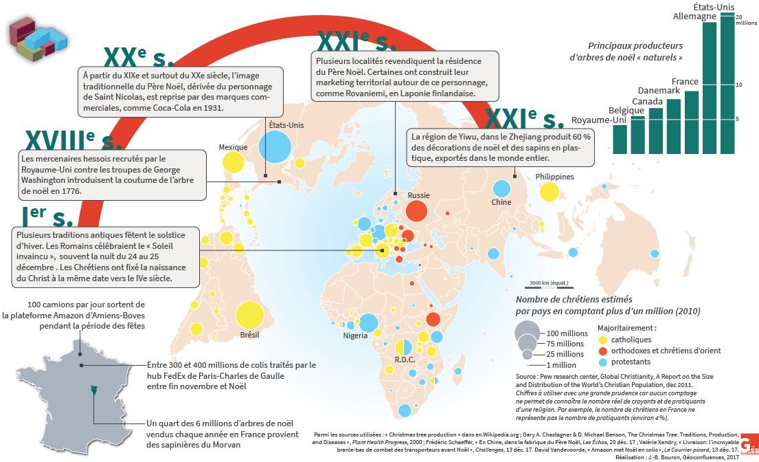 production de sapins, nombre de chrétiens par pays carte, mondialisation de noël — Jean-Benoît Bouron