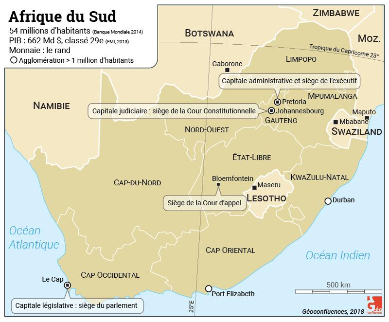 Les capitales de l'Afrique du Sud