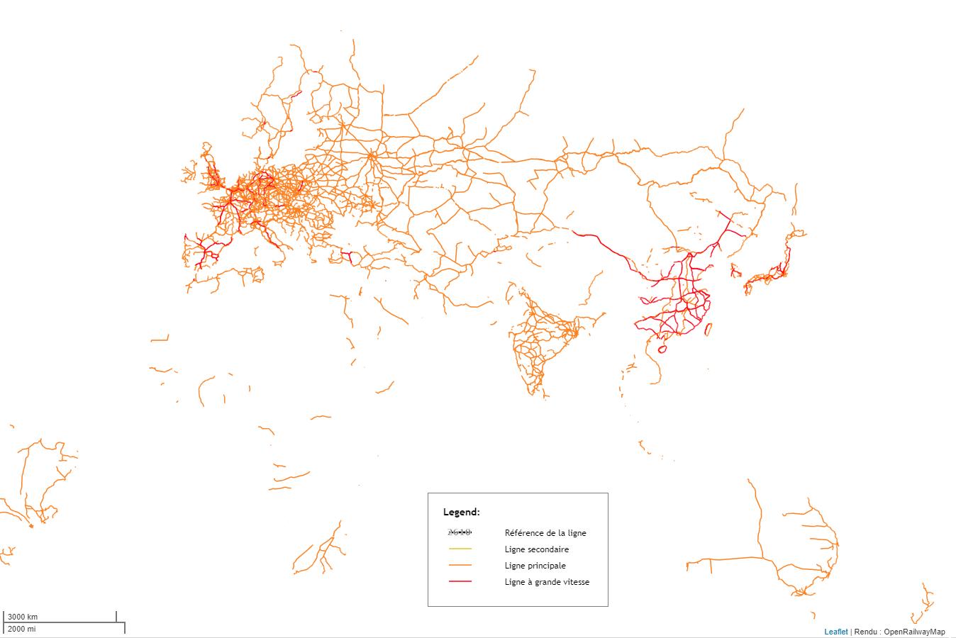 Carte des voies ferrées et des LGV en Europe Asie Afrique Australie