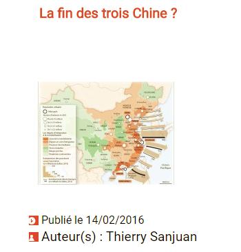 La fin des trois Chine ? cliquez pour lire l'article