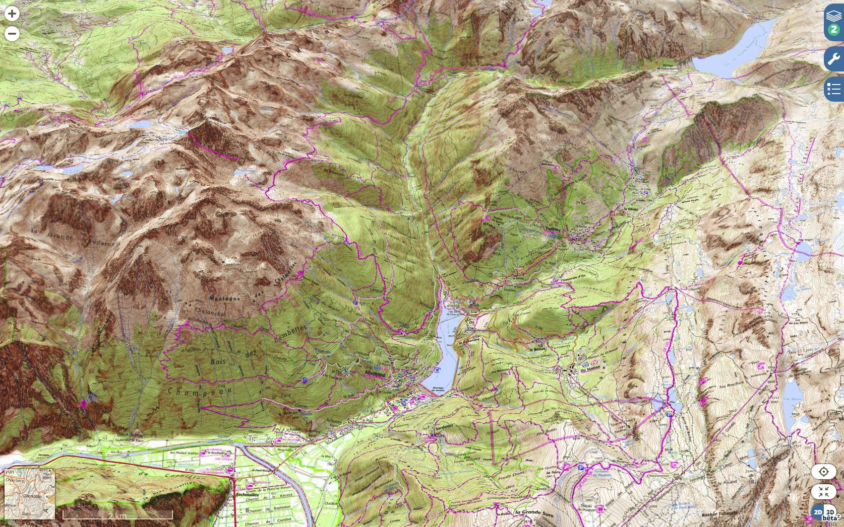 La carte topographique de l'IGN en 3D