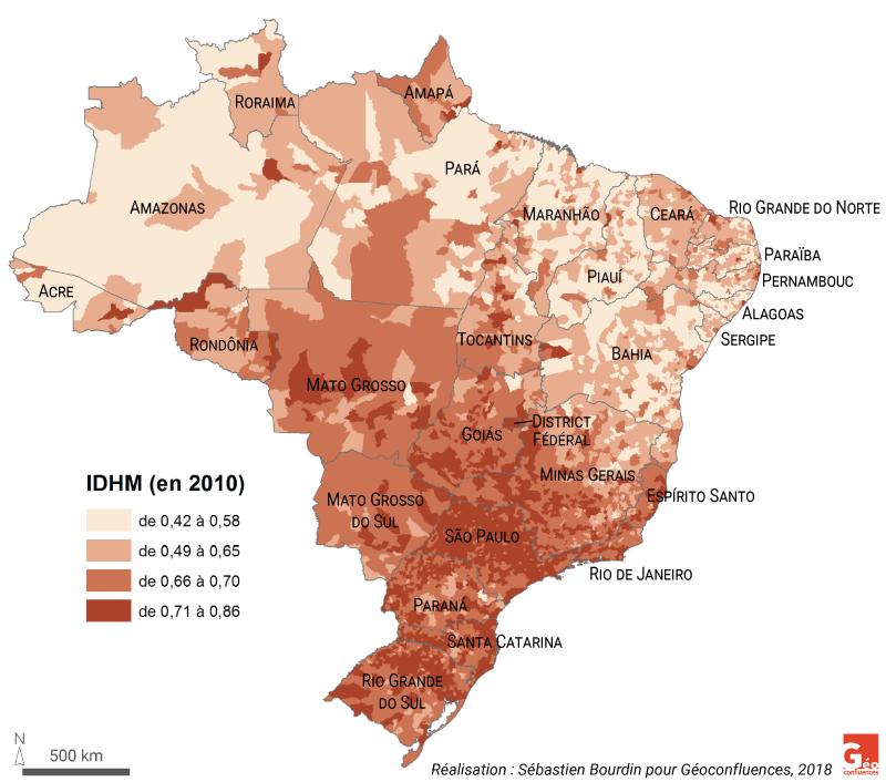 Sébastien Bourdin — Carte IDHM Brésil par commune