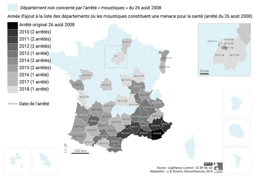Carte diffusion du moustique tigre en France via arrêtés Légifrance