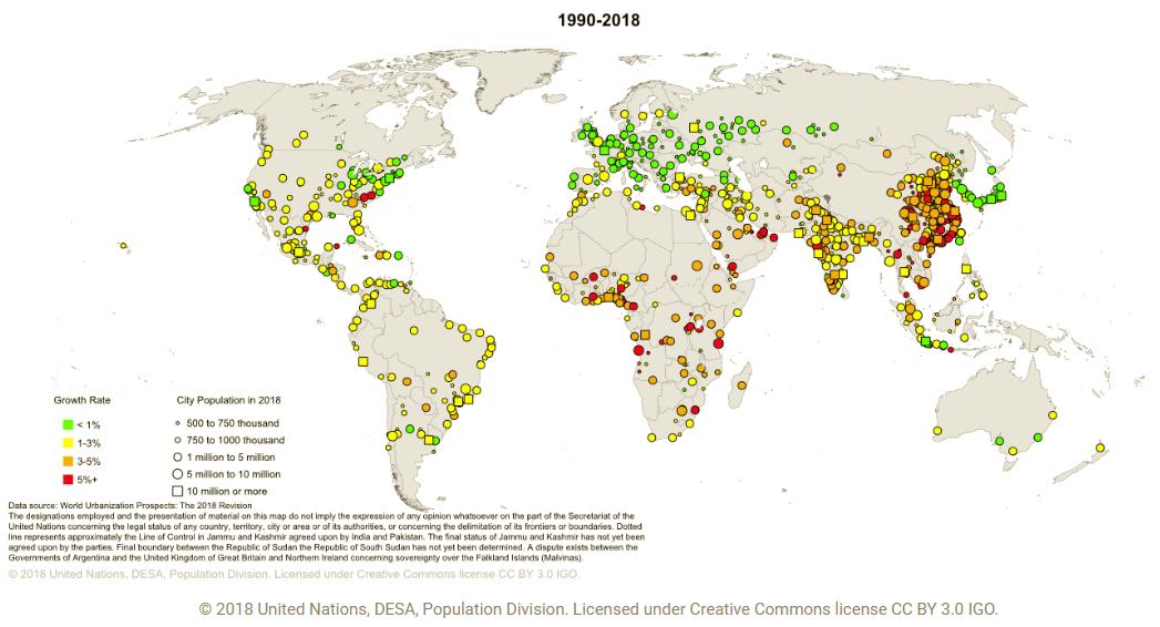 carte de l'urbanisation mondiale 2018
