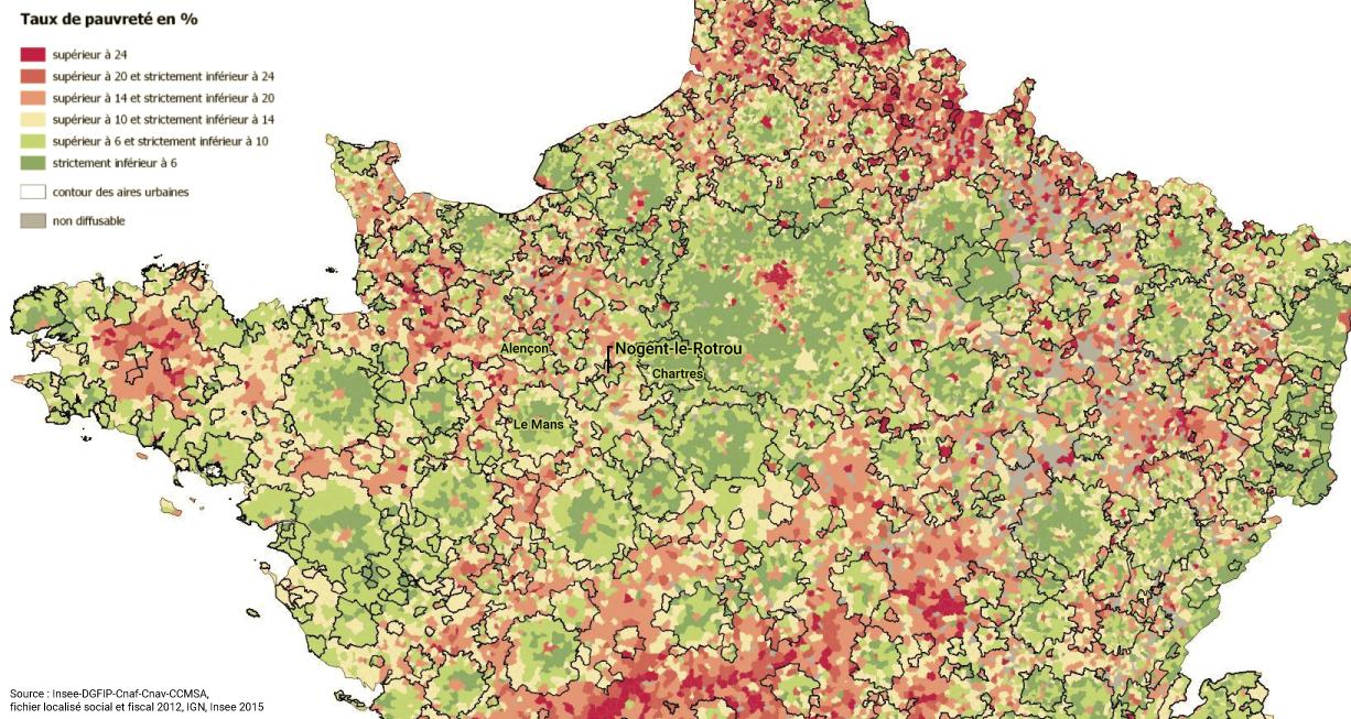 Nogent le Rotrou sur la carte du taux de pauvreté (2012)