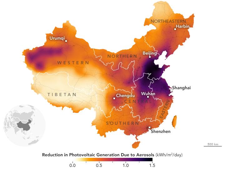 Chine réduction du potentiel solaire par les aérosols