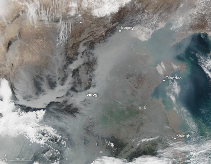 Chine photographie satellites du smog piégés par le relief