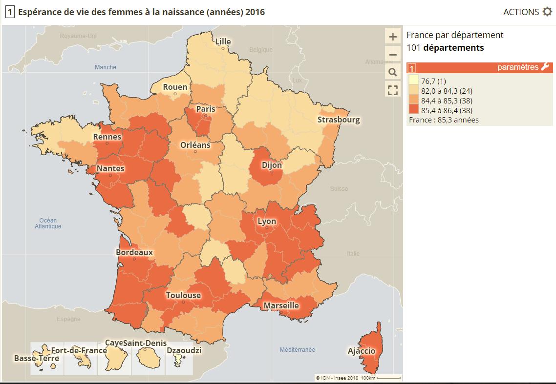 espérance de vie des femmes à la naissance, France par départements, DROM inclus
