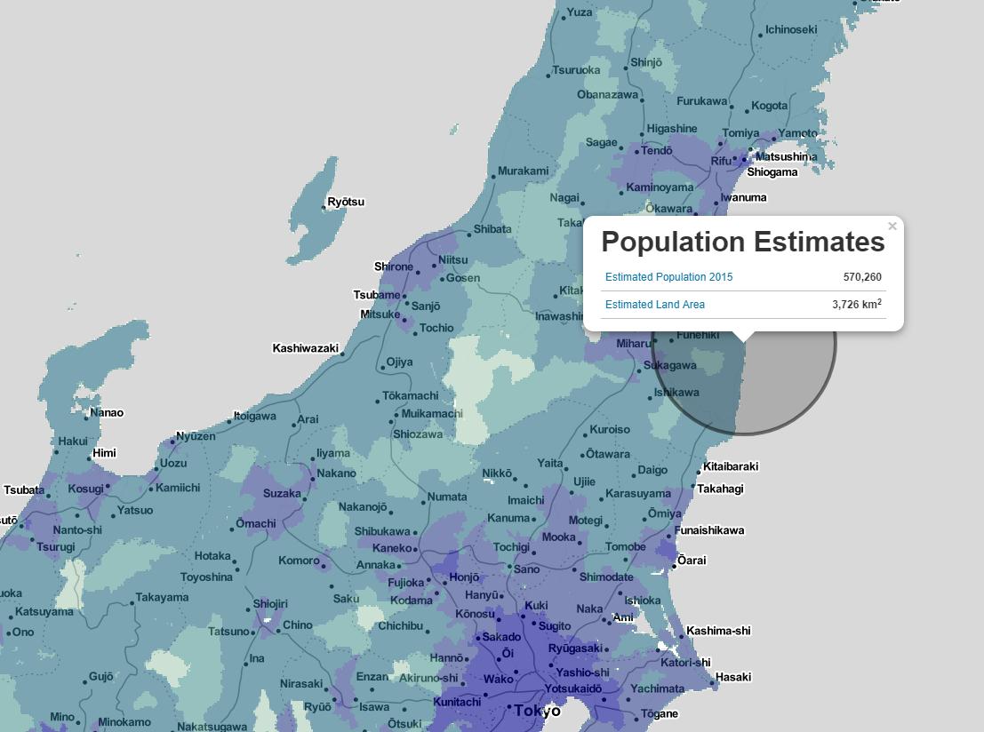 carte NASA estimation population de Fukushima