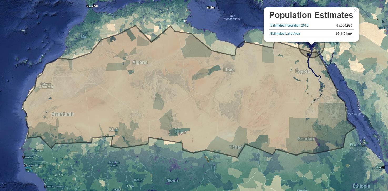 carte NASA estimation population du delta du Nil