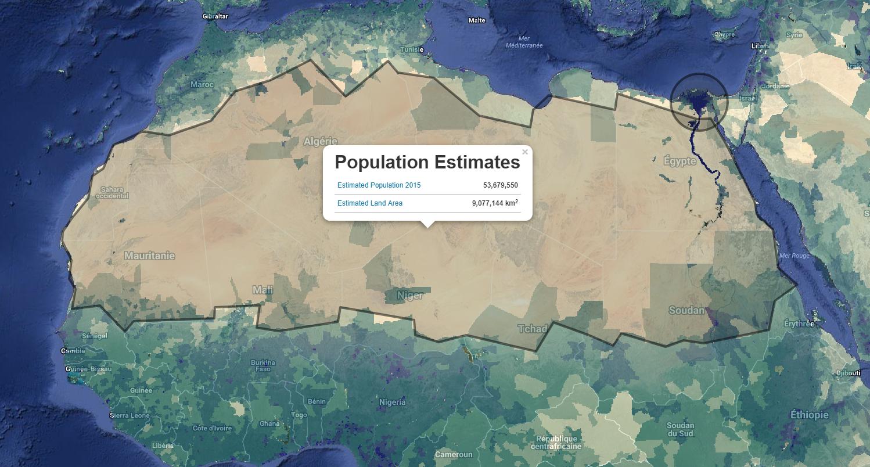 carte NASA estimation population du Sahara
