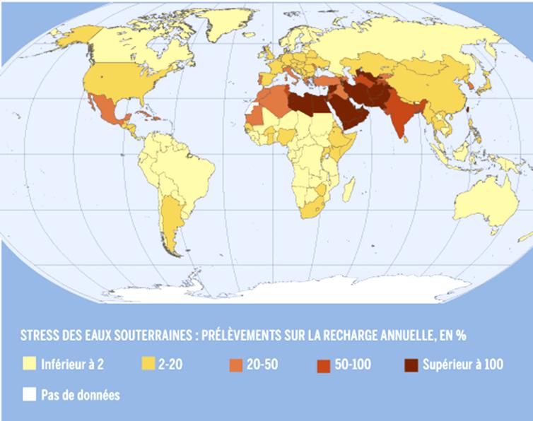 Prélèvement des eaux souterraines par état dans le monde en part des réserves