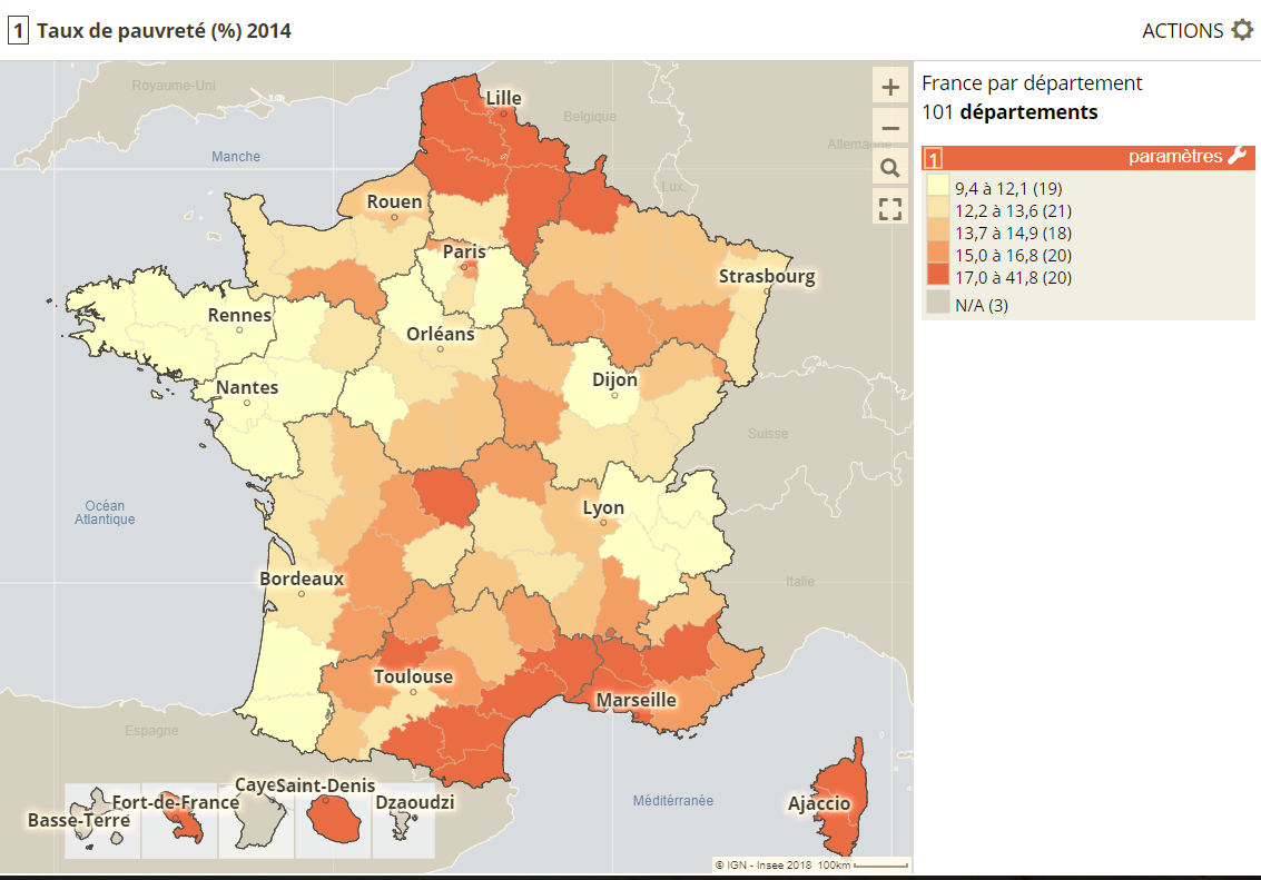 taux de pauvreté, France par départements, DROM inclus
