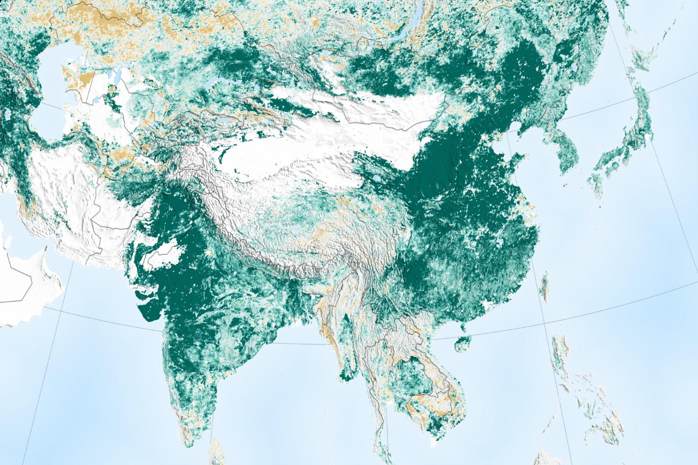 NASA verdissement carte échelle Asie