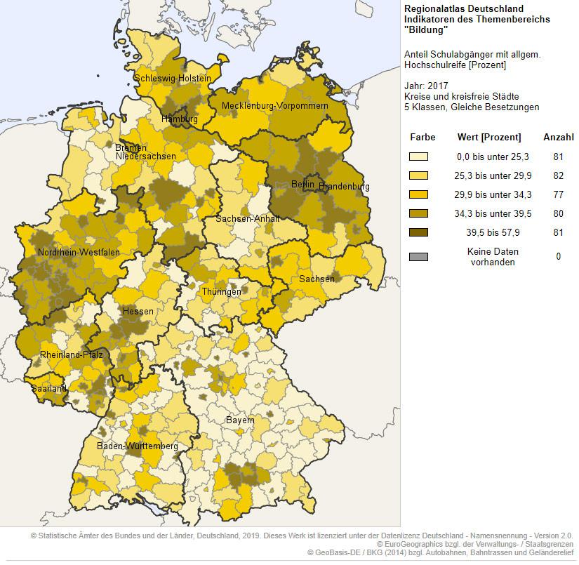 Taux de diplômés en Allemagne carte