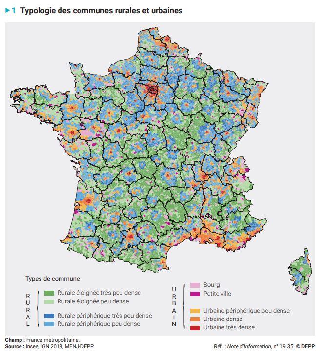 carte typologie urbain rural