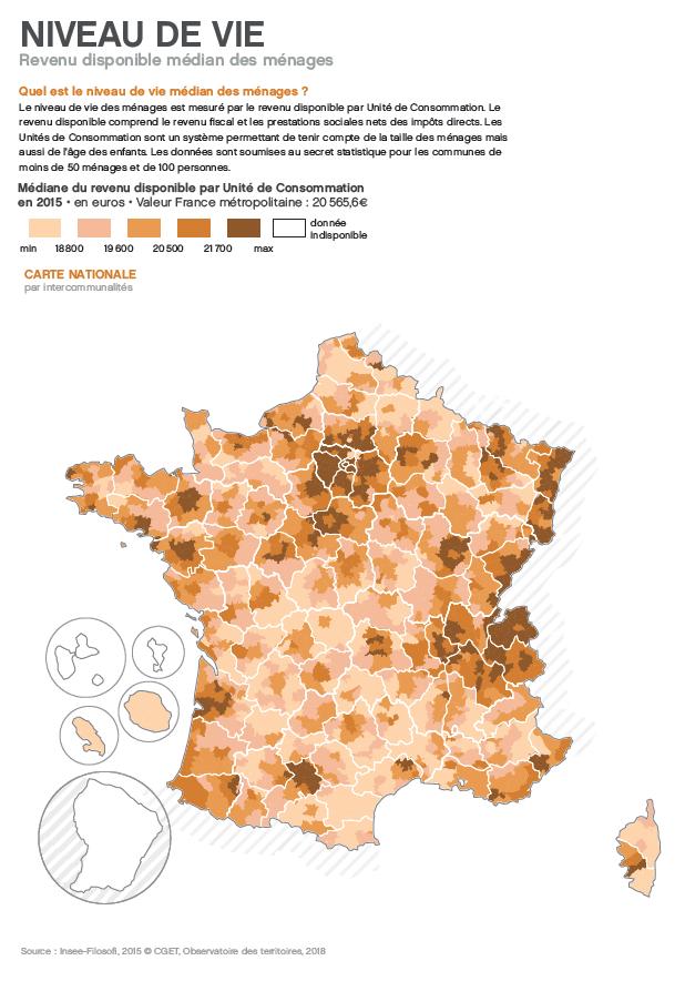 carte du CGET niveau de vie