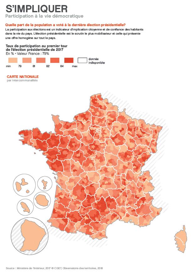 carte du CGET participation électorale