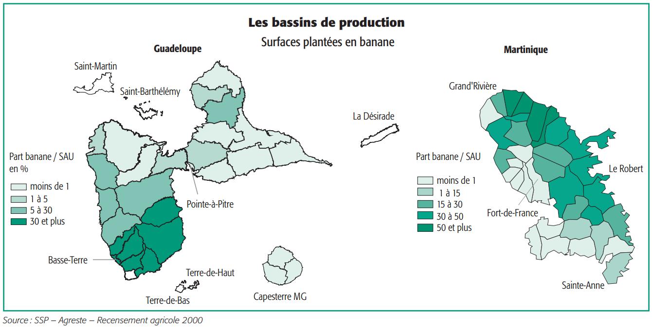 Les bassins de production - surfaces plantées en banane