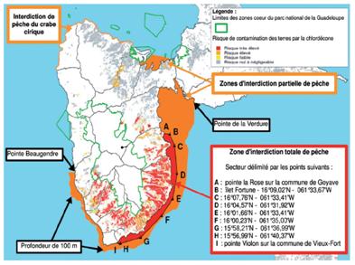 Carte contamination marine Guadeloupe chlordecone